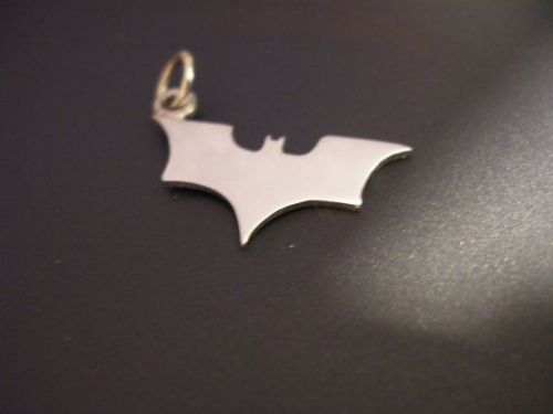 Batman Charm modern logo silhouette solid sterling silver Handmade in the Uk